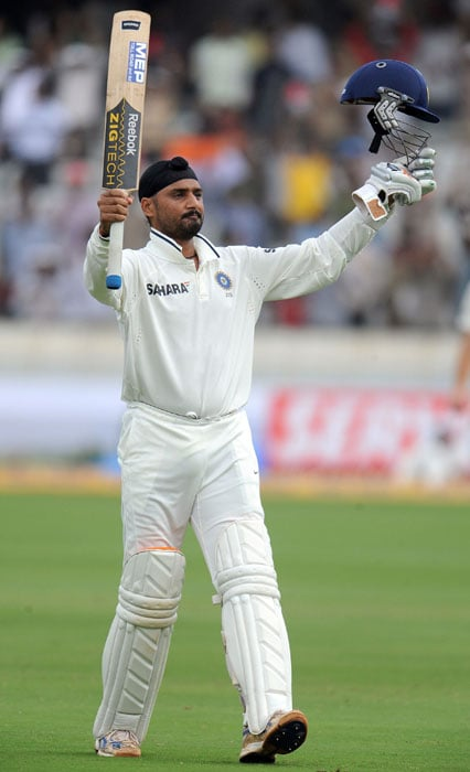 <b>Bhajji on song:</b> Harbhajan brought up his second consecutive Test century and remained unbeaten on 111. He leads the batting charts in the series with 295 runs.