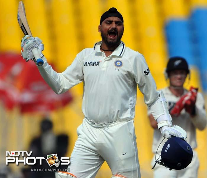 2010: Always a handy lower order batsman, Harbhajan goes a step further with his batting. During New Zealand's tour of India in November 2010, Harbhajan scores his maiden Test century during the 1st Test in Ahmedabad. It is also the 100th century by an Indian in the second innings of a Test. His 115, along with Laxman's 91 saved the game for India after they had collapsed to 5/15. He follows that ton with a knock of 111* in India's 1st innings in the next Test, becoming the first no. 8 batsman to slam back-to-back Test centuries. (AFP Photo)