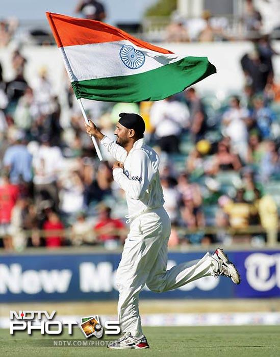 2001: Gets a lucky break after Anil Kumble is forced out with an injury and Indian captain Sourav Ganguly publicly roots for his inclusion in the team for a series against Australia. Bhajji, takes the cricketing world by storm as he grabs 32 wickets in three Tests against the all-conquering Aussies, including the first Test hat-trick by an Indian, even as none of his team-mates manage more than three wickets. He prevents the Aussies from winning what was billed as the final frontier as India claim the series.<br><br> On the back of his performance, he also makes a comeback into the ODI team after a gap of 2 years. (Getty Images)
