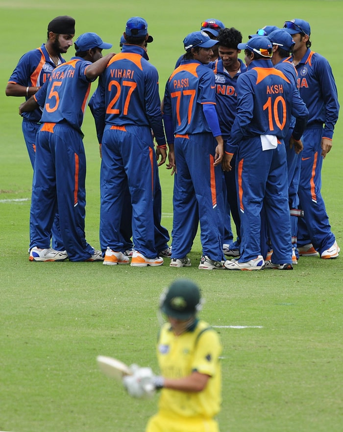 The Indians struck early as Ravikant Singh removed Meyrick Buchanan for just 12 to destroy Australia's hopes of a good start. (Photo by Ian Hitchcock-ICC/Getty Images)