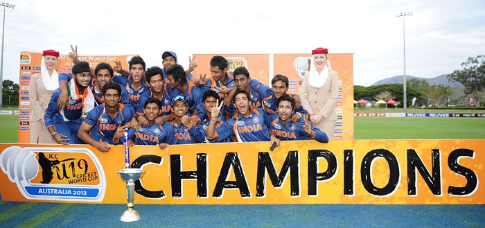 The Indian team celebrates winning the 2012 ICC U-19 Cricket World Cup after beating defending champions Australia by 6 wickets in the final at Tony Ireland Stadium in Townsville, Australia. (Photo: ICC/Getty Images)