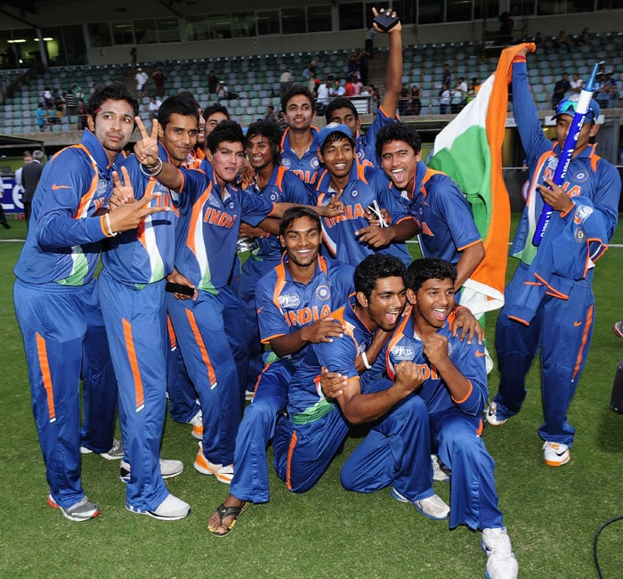 The Indian team celebrates their ICC U-19 Cricket World Cup win. (Photo: ICC/Getty Images)