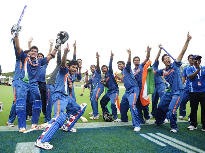 The U-19 Indian team celebrate their World Cup victory in Usain Bolt's style. (Photo: ICC/Getty Images)