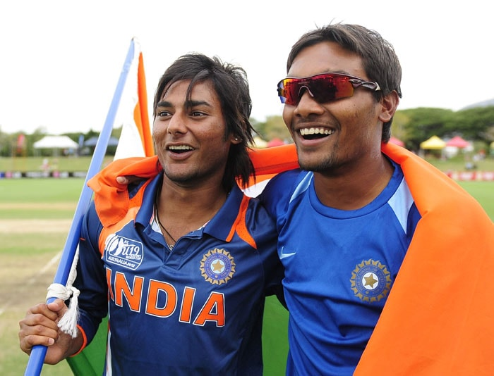 Kamal Passi and Sandeep Sharma celebrate together after winning the 2012 ICC U-19 Cricket World Cup. (Photo: ICC/Getty Images)