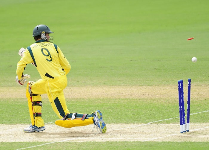 Kurtis Patterson of Australia is bowled as he tries to increase the flow of the runs. (Photo by Ian Hitchcock-ICC/Getty Images)