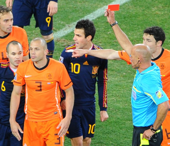 <b>John Heitinga</b><br><br> Netherlands came into the World Cup final after winning all their matches in the tournament so far. In the final which reached extra time, the Dutch had shown a stern defence allowing little room for Spanish strikers. But all that was blown apart when John Heitinga received a second booking to be sent off leaving Netherlands with 10 men and no substitutions left which ultimately allowed Spain to unlock the Dutch defence and win the tournament.