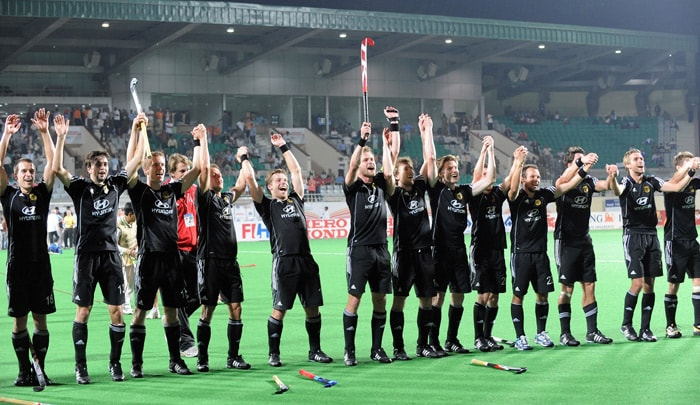 The German hockey team celebrates their victory against England following their World Cup 2010 hockey semifinal match at the Major Dhyan Chand Stadium in New Delhi. (AFP Photo)