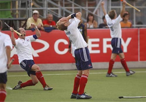 Great Britain's players (from left) Ben Hawes, Glenn Kirkham and Barry Middleton celebrate after beating India in the final game of hockey Olympic qualifiers in Santiago on Sunday.