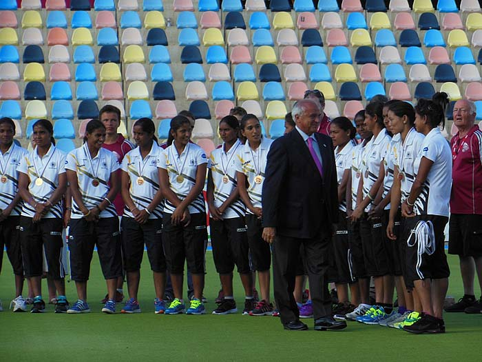 Seen here is FIH president Leandro Negre meeting the Indian team at the medal ceremony