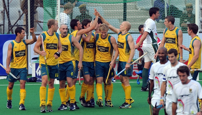 Penalty corner specialist Luke Doerner slammed in five goals, and Glenn Turner and Jamie Dwyer picked two each, as the Australians gave the South Africans a hockey lesson in their first Cup meeting. (AFP Photo)