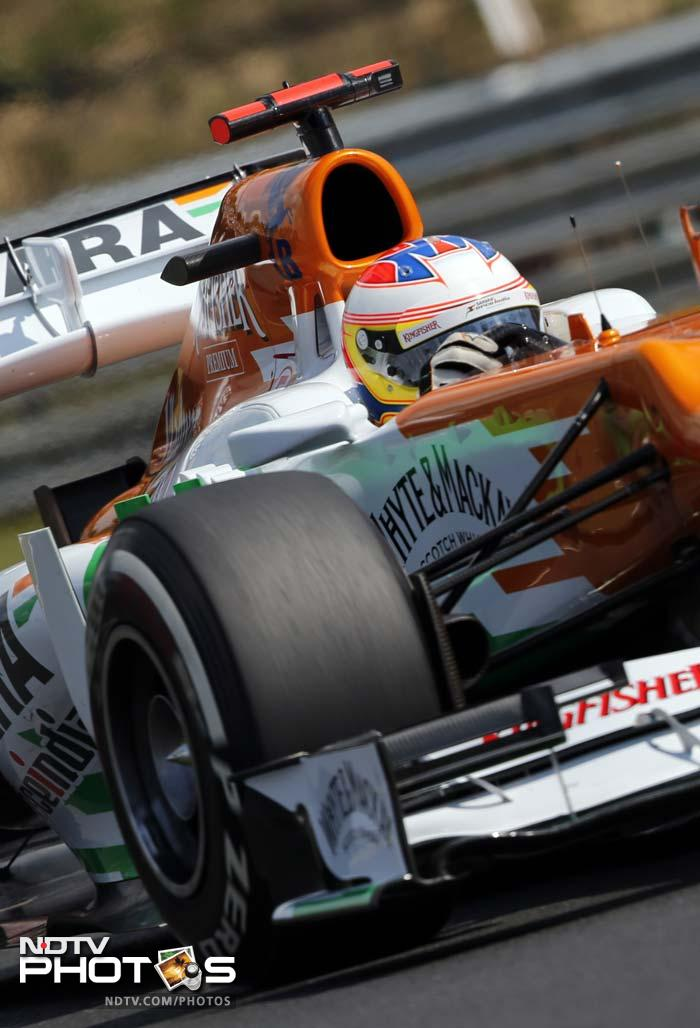Nico Hulkenberg for Sahara Force India secured the tenth spot while teammate Paul di Resta was 12th fastest.