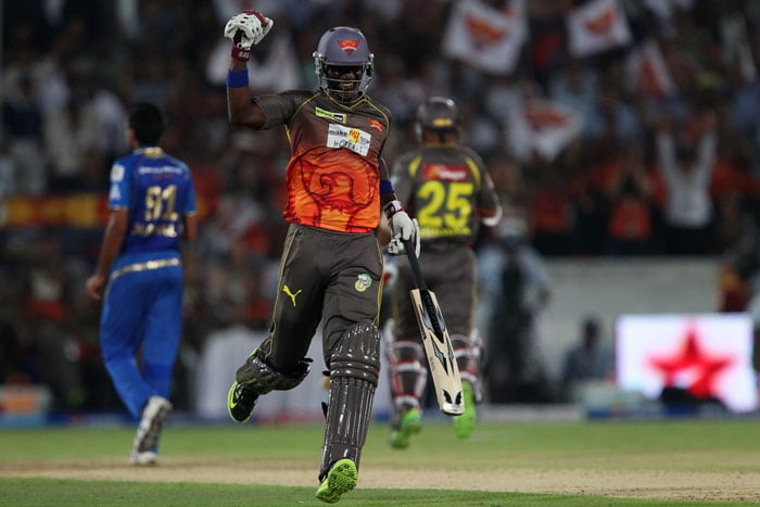 Disciplined bowling and Shikhar Dhawan's individual brilliance gave Sunrisers Hyderabad a much deserved victory over Mumbai Indians in the 43rd match of the Indian Premier League 2013 being played in Uppal, Hyderabad. Darren Sammy (in pic) celebrating after the win. (BCCI Image)