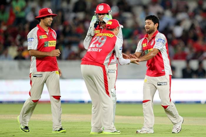 Piyush Chawla too tried valiantly but Hyderabad's ploy to play out his overs worked well for them. His figures of 1/25, getting Vihari, too helped Punjab's cause but more wickets were needed. (BCCI Image)