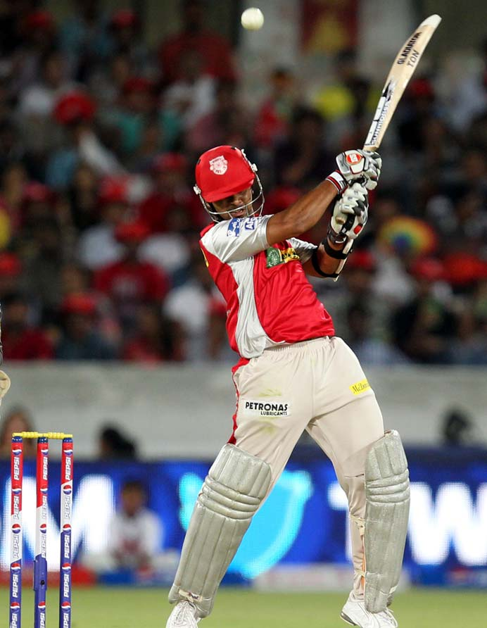 Meanwhile, Paul Valthaty, playing his first match this season, came in to join his captain but looked in trouble right from the outset. He never found his feet as Karan Sharma (leg-spinner) and Amit Mishra were introduced early by Cameron White. Valthaty's painful knock also pressurised Gilchrist as the momentum was curtailed. (BCCI Image)