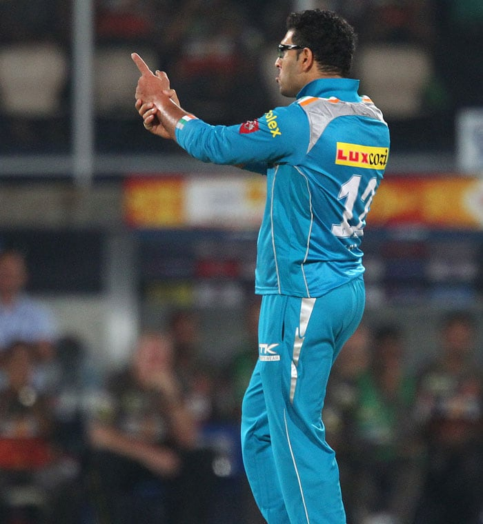 Will this be Yuvi's step of the season? Wonder boy looks joyous after taking the wicket of reddy (Image BCCI)