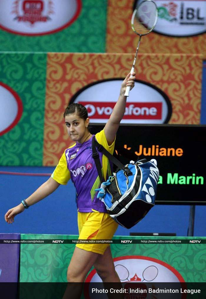 """Post her win, Juliane said, """"I have been trying to give my best to the league from the beginning. I knew today's match was tough and therefore I had prepared myself well in advance. This planning helped me win over Carolina."""" (In image: Carolina Marin of Spain)"""