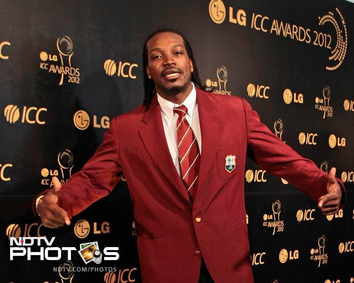 West Indies' Chris Gayle enjoys the ambiance before the start of the ceremony.