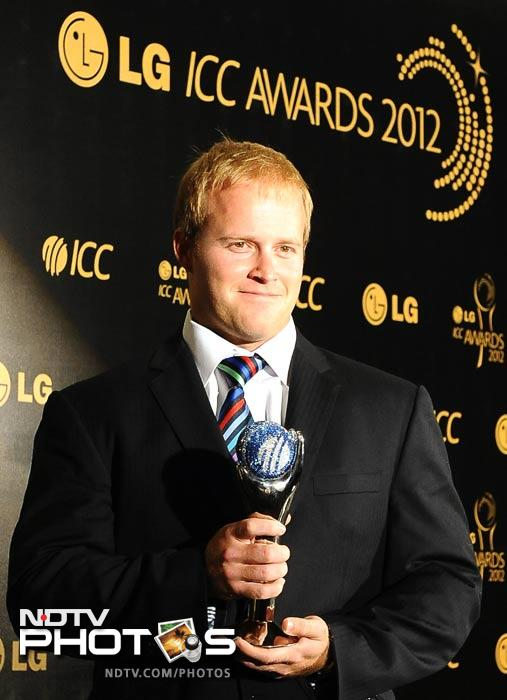 South Africa's Richard Levi holds the International Performance of the Year Award. He hit 117 off 51 balls against New Zealand.