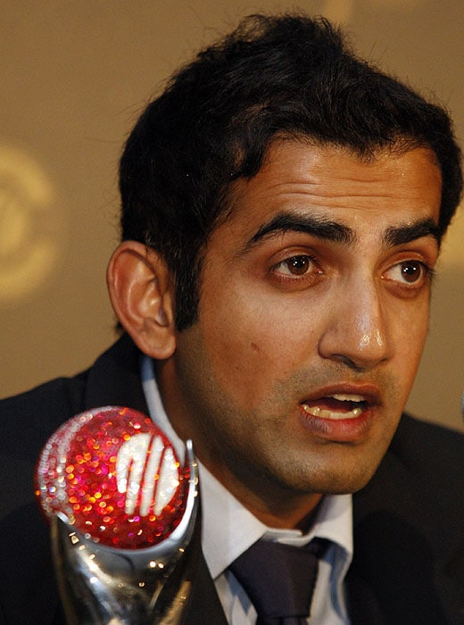 India's Gautam Gambhir addresses journalists after the International Cricket Council Awards in Johannesburg, South Africa on Thursday, October 1, 2009. Gambhir was named the ICC Test Player of the Year. MS Dhoni, who skipped the awards night, won multiple awards - ICC ODI Player of the Year and Captain of ICC's ODI and Test World XIs. Others who won are Virender Sehwag, Yuvraj Singh and Harbhajan Singh. (AP Photo)