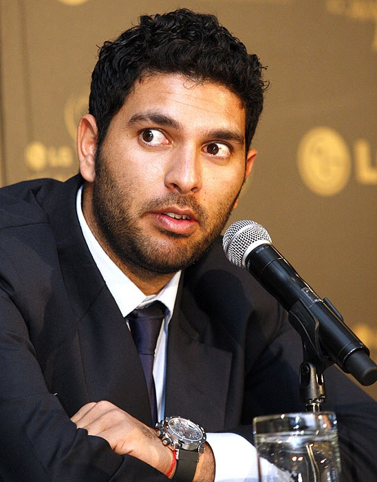 India's Yuvraj Singh addresses journalists after the ICC Awards in Johannesburg on Thursday. Singh was named to be part of the ICC World One Day International Team of the Year. (AP Photo)