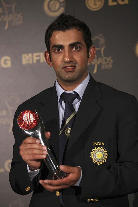 India's Gautam Gambhir holds the ICC Test Player of The Year Award at The ICC Awards 2009 in Johannesburg on Thursday. (AP Photo)