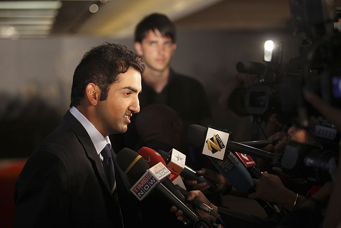 India's Gautam Gambhir is interviewed as he arrives for the ICC Awards in Johannesburg on Thursday. (AP Photo)