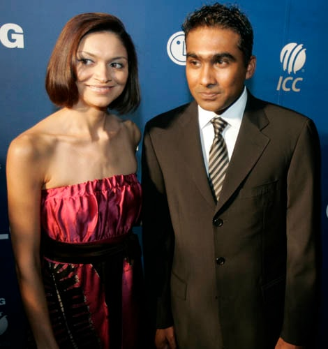 Sri Lanka's cricket player, Mahela Jayawardena, right, arrives on the red carpet with his wife for the LG ICC Awards 2008 ceremony in Dubai.