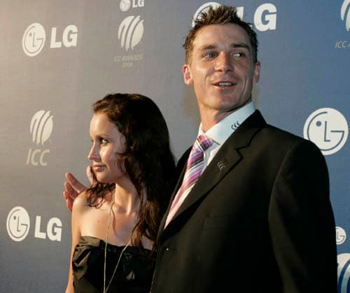 South Africa's cricket player, Dale Steyn, right, arrives on the red carpet with his unidentified partner for the LG ICC Awards 2008 ceremony in Dubai.