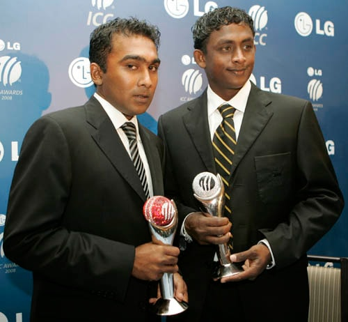 Sri Lanka's cricket players Ajantha Mendis, right, holds his trophy of the Emerging Player of the Year and Mahela Jaywardena, left, holds the trophy for Spirit of Cricket at LG ICC Awards 2008 ceremony in Dubai.