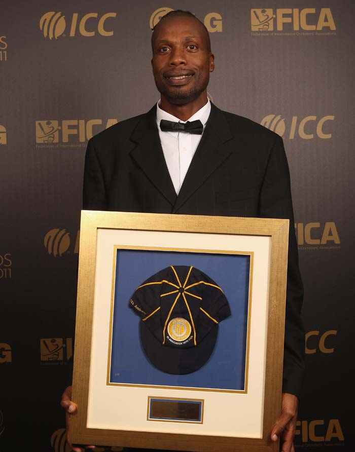 Curtly Ambrose of the West Indies with his Hall of Fame Cap during the ICC Awards at The Grosvenor House Hotel on September 12, 2011 in London, England. (Photo by Tom Shaw/Getty Images)