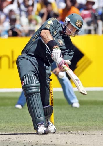 Matthew Hayden from Australia hits a boundary during the one-day international cricket match against India at the Melbourne Cricket Ground on Sunday, February 10, 2008.