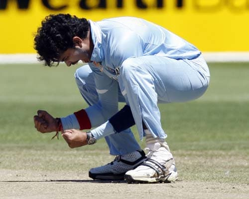 Shanthakumaran Sreesanth celebrates the wicket of Adam Gilchrist from Australia during their one-day international cricket match at the Melbourne Cricket Ground on Sunday, February 10, 2008.