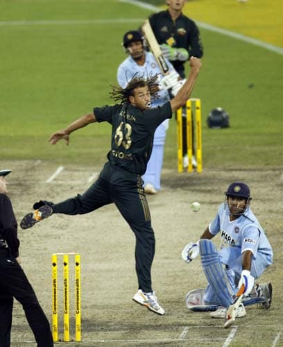 Andrew Symonds is hit for four off Rohit Sharma during their one-day international cricket match at the Melbourne Cricket Ground on Sunday, February 10, 2008.