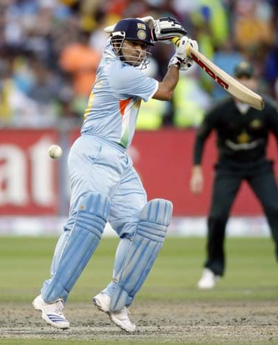Sachin Tendulkar in action during the one-day international cricket match against Australia at the Melbourne Cricket Ground on Sunday, February 10, 2008.