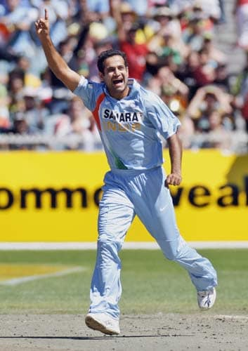 Irfan Pathan celebrates the wicket of Michael Clarke from Australia during their one-day international cricket match at the Melbourne Cricket Ground on Sunday, February 10, 2008.