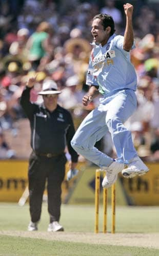 Irfan Pathan jumps to celebrate taking the wicket of Michael Hussey for 5 runs in their one-day international match at the Adelaide Oval on Sunday, February 17, 2008.
