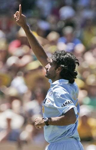 Munaf Patel celebrates taking the wicket of Ricky Ponting, for 10 runs in their one-day international cricket match at the Adelaide Oval on Sunday February 17, 2008.