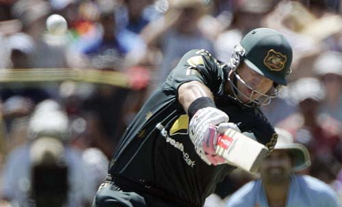 Matthew Hayden hits a six off Munaf Patel in their one-day international cricket match at the Adelaide Oval on Sunday, February 17, 2008.