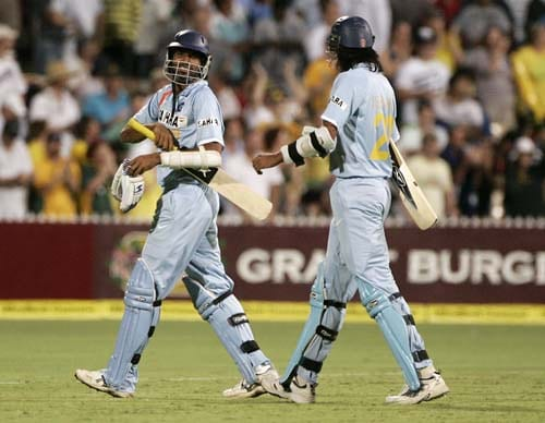 Manuf Patel, left, and Ishant Sharma walk off after Australia won their one-day international match at the Adelaide Oval on Sunday, February 17, 2008. Australia won by 50 runs after India are all out for 153.