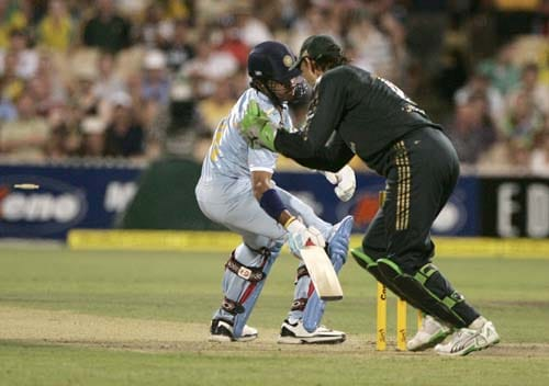 Adam Gilchrist, right, stumps Shanthakumaran Sreesanth, left, for 1 run in their one-day international cricket match at the Adelaide Oval on Sunday, February 17, 2008. Australia made 203 in their innings.