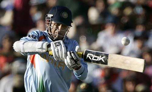 Irfan Pathan drives the ball against Australia in their one-day international cricket match at the Adelaide Oval on Sunday, February 17, 2008. Australia made 203 in their innings.