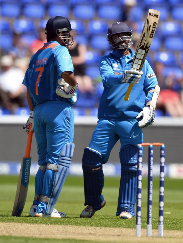 The two added a crucial 211-run partnership for the sixth wicket in 182 balls. Karthik going on to score a magnificent unbeaten 146 - his second century in as many warm-up games prior to the start of the ICC Champions Trophy.