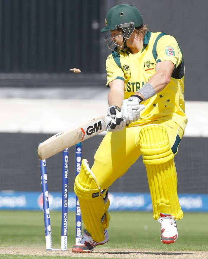 Shane Watson successfully negated the hat-trick ball but he ultimately chopped the ball onto the stumps to give Ishant Sharma his first wicket. With that Australia had lost realistic hopes of chasing a huge target.