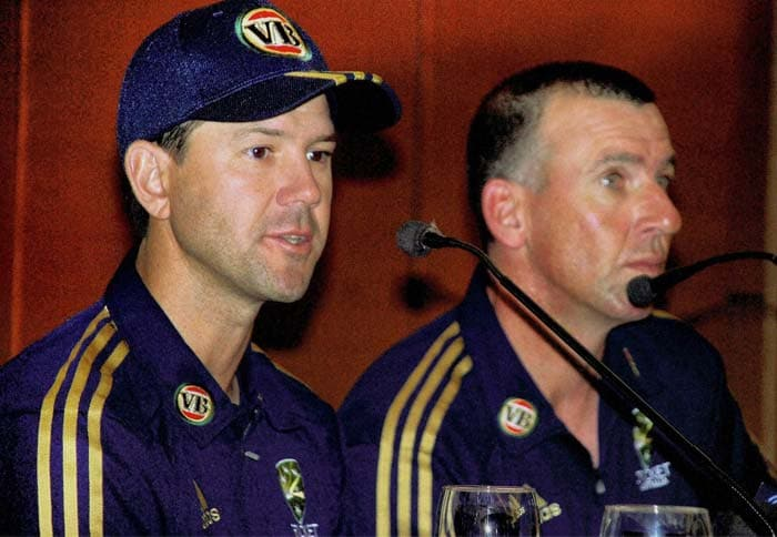 Australian captain Ricky Ponting and coach Tim Nielsen at a press conference ahead of the two-match Test series against India, in Chandigarh on Tuesday. (PTI Photo)