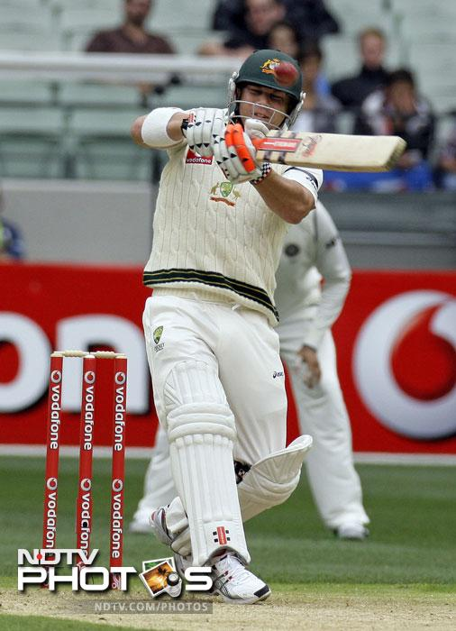 David Warner hits a six during the first Test match between India and Australia at the Melbourne Cricket Ground in Melbourne. (AP Photo)