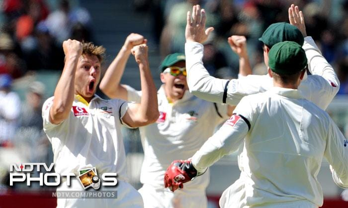 James Pattinson celebrates dismissing Zaheer Khan on the fourth day of the first Test match between Australia and India at the Melbourne Cricket Ground in Melbourne. (AFP Photo)