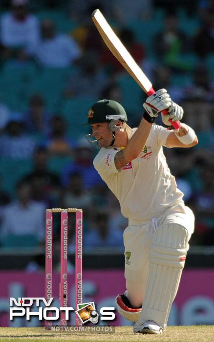 Michael Clarke plays a shot on Day One of the second Test between India and Australia at the Sydney Cricket Ground. (AFP Photo)