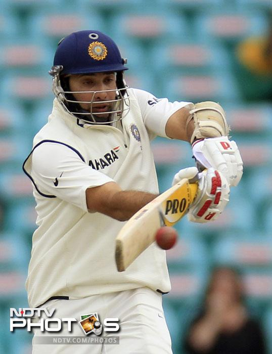 VVS Laxman pulls the ball against Australia on the fourth day in their Test match at the Sydney Ground in Sydney. (AP Photo