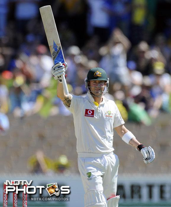 Michael Clarke celebrates his 200 runs on Day 2 of the fourth Test between India and Australia in the Border-Gavaskar Trophy Series at the Adelaide Oval. (AP Photo)