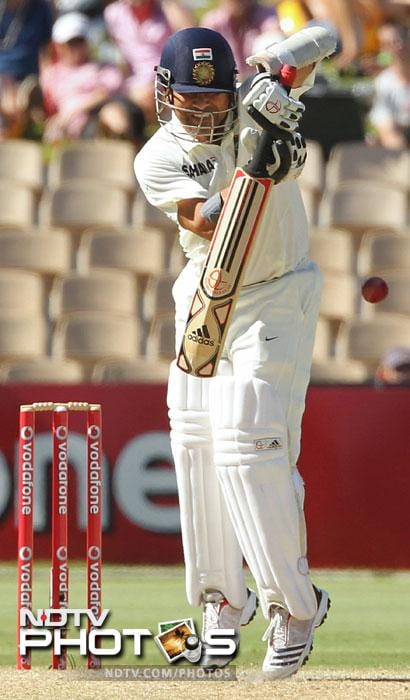 Sachin Tendulkar hits a ball on Day 2 of the fourth Test against Australia in the Border-Gavaskar Trophy Series at the Adelaide Oval. (AFP Photo)